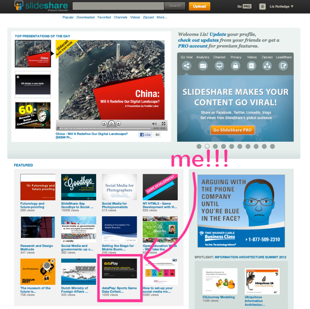 Featured on the Slideshare Front Page!